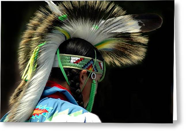 Struckle Greeting Cards - Native American Boy Greeting Card by Kathleen Struckle