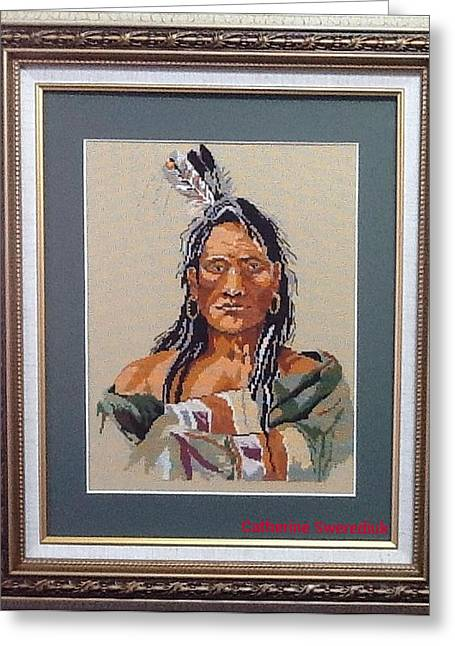 Americans Tapestries - Textiles Greeting Cards - Native American Greeting Card by Catherine Swerediuk