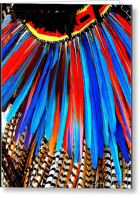 North American Indian Ethnicity Greeting Cards - Native American Ceremonial Headdress Greeting Card by  Photographic Art and Design by Dora Sofia Caputo