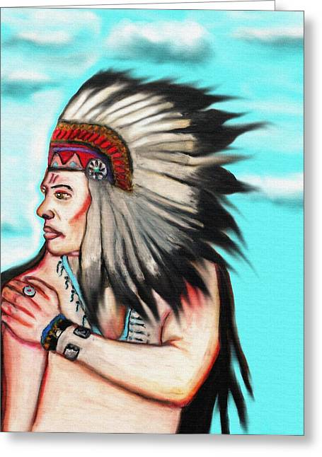 Occupy Greeting Cards - Native American Chief 1 Greeting Card by Angela Pari  Dominic Chumroo