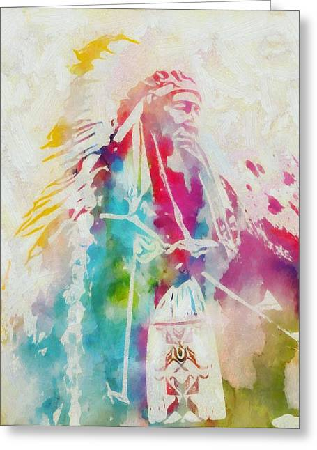Colorful Indian Chief Greeting Cards - Native American Chief Watercolor Greeting Card by Dan Sproul