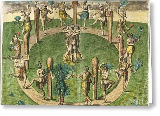 Roanoke Island Greeting Cards - Native American Dance, 16th Century Greeting Card by British Library