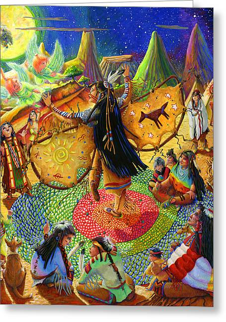 Expressive Native American Indian Greeting Cards - Native American Dancer Angel Greeting Card by Jacquelin Vanderwood