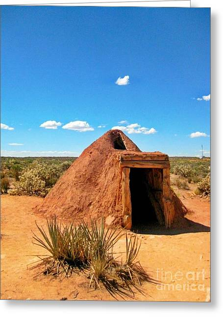 Native American Earth Lodge Greeting Card by John Malone