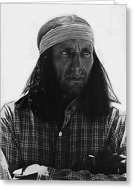 Dressed As Natives Americans Greeting Cards - Native American extra dressed as fierce Apache warrior The High Chaparral set Old Tucson Arizona 196 Greeting Card by David Lee Guss