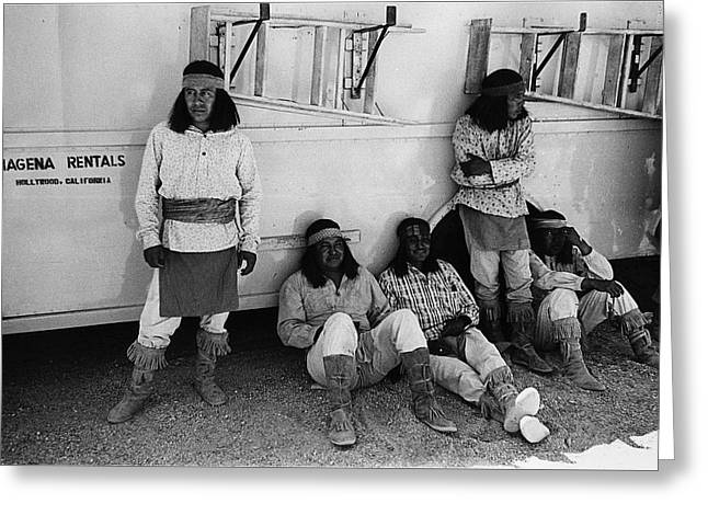 Dressed As Natives Americans Greeting Cards - Native American extras dressed as Apache warriors The High Chaparral set Old Tucson Arizona 1969 Greeting Card by David Lee Guss