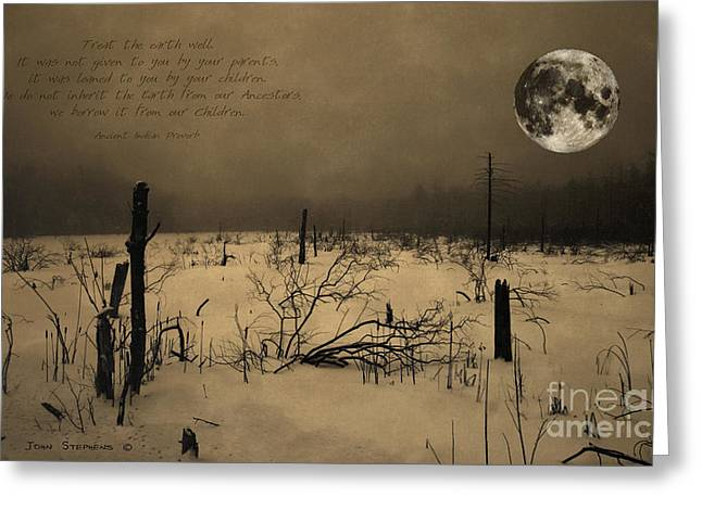 Clean Water Greeting Cards - Native American Full Moon Treat The Earth Well Greeting Card by John Stephens