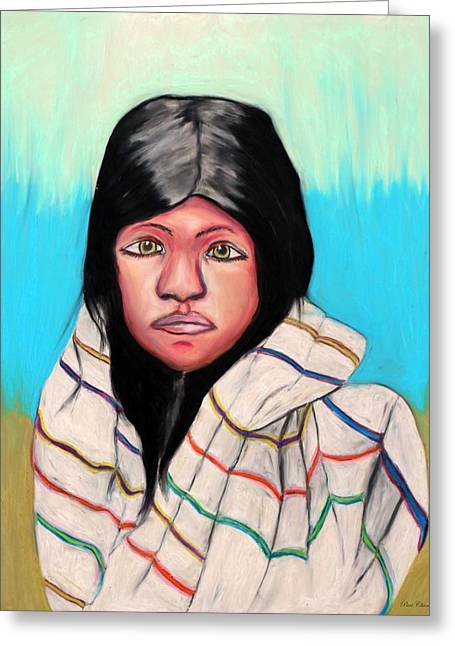 Youth Pastels Greeting Cards - Native American Girl 1 Greeting Card by Angela Pari  Dominic Chumroo