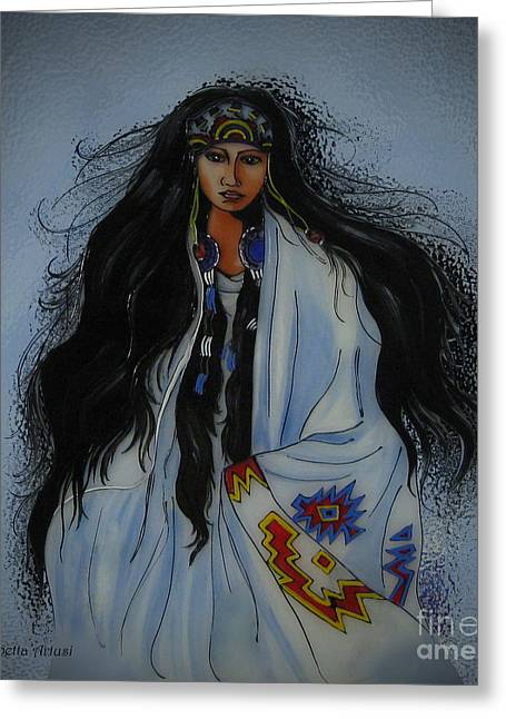 Betta Greeting Cards - Native American Girl Greeting Card by Betta Artusi