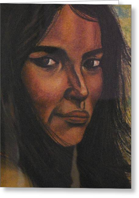 Maiden Pastels Greeting Cards - Native American Girl Greeting Card by Laurie Kidd