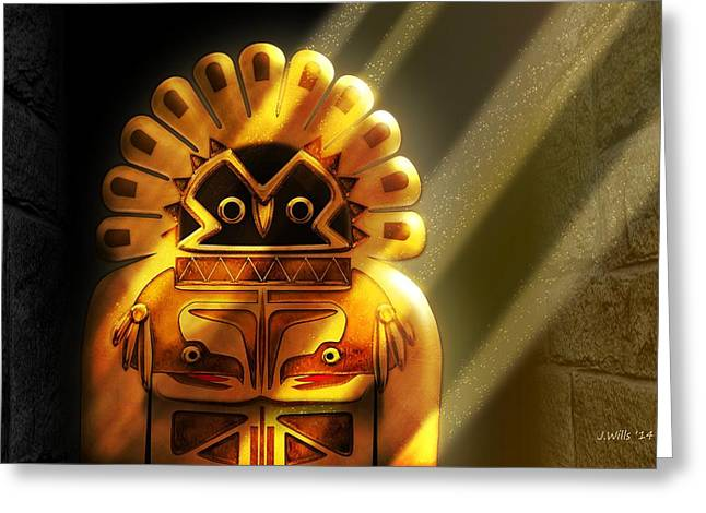Native American Hawk Spirit Gold Idol Greeting Card by John Wills