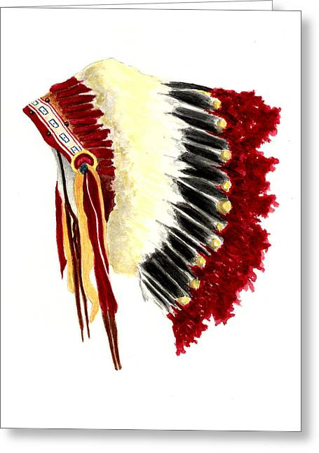 Native American Illustration Greeting Cards - Native American Headdress Greeting Card by Michael Vigliotti