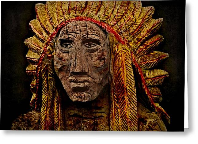 Native American In Wood 1886 Greeting Card by David Dehner