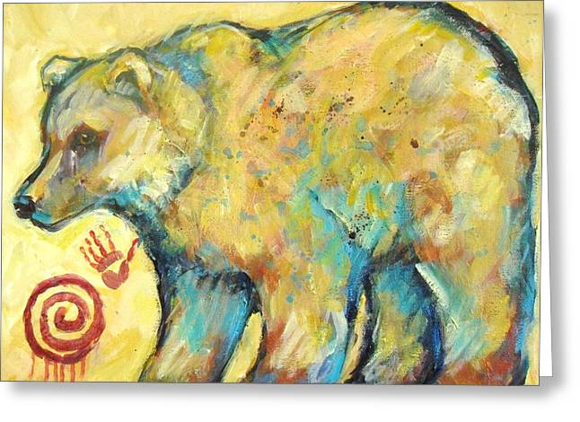 Southwest Art Greeting Cards - Native American Indian Bear Greeting Card by Carol Suzanne Niebuhr