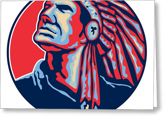 Native-american Greeting Cards - Native American Indian Chief Retro Greeting Card by Aloysius Patrimonio