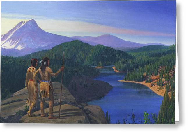 Chinook Paintings Greeting Cards - Native American Indian Maiden And Warrior Watching Bear Western Mountain Landscape - Square Format Greeting Card by Walt Curlee