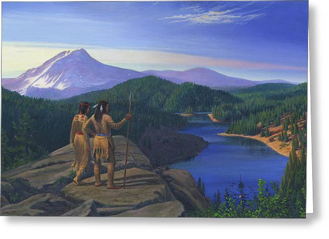 Chinook Paintings Greeting Cards - Native American Indian Maiden And Warrior Watching Bear Western Mountain Landscape Greeting Card by Walt Curlee