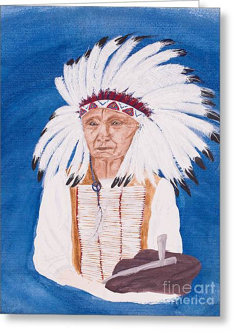 Native American Spirit Portrait Greeting Cards - Native American indian painting by Carolyn Bennett Greeting Card by Simon Bratt Photography LRPS
