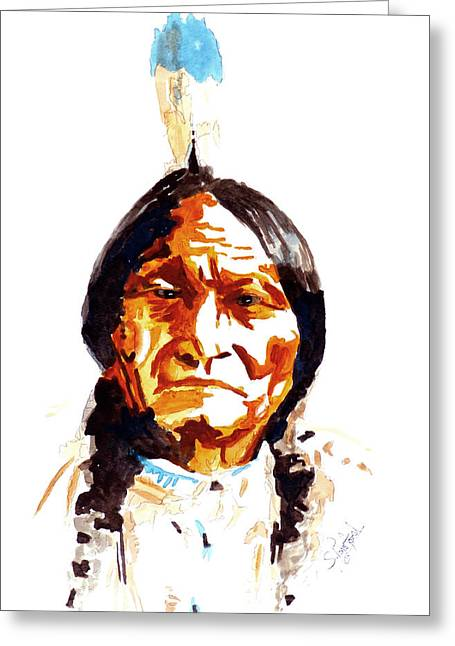 Eatoutdoors Greeting Cards - Native American Indian Greeting Card by Steven Ponsford