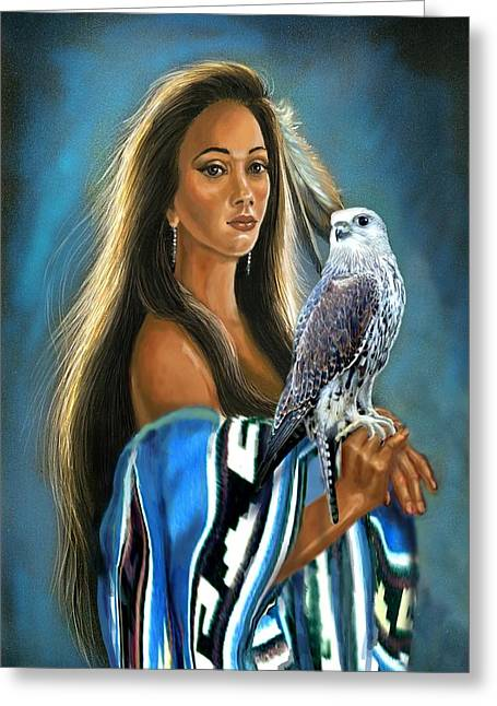 Canvas On Board Greeting Cards - Native American maiden with falcon Greeting Card by Gina Femrite