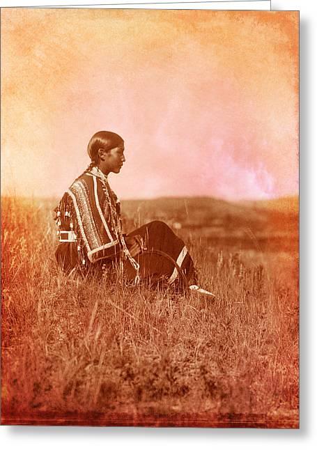 American Women Prints Greeting Cards - Native American Piegan Blackfeet woman Greeting Card by Cat Whipple