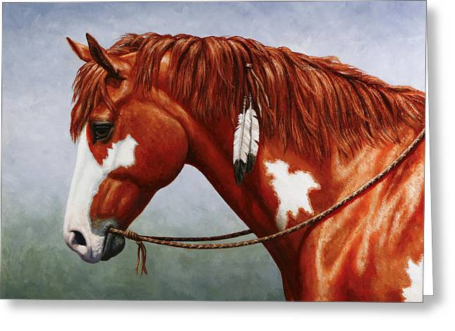 Wild Horses Paintings Greeting Cards - Native American Pinto Horse Greeting Card by Crista Forest
