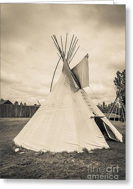 Period Greeting Cards - Native American Plains Indian Tipi Tepee Teepee Greeting Card by Edward Fielding