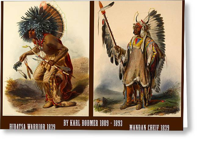 Jewelry Posters Greeting Cards - Native American Poster Greeting Card by Karl Bodmer