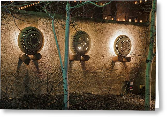 Luminaries Greeting Cards - Native American Pottery in at night in Santa Fe New Mexico Greeting Card by Dave Dilli