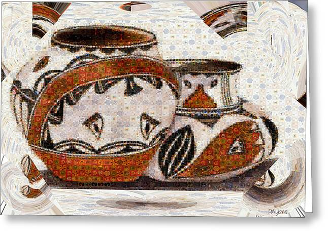 Water Jug Greeting Cards - Native American Pottery Mosaic Greeting Card by Paula Ayers