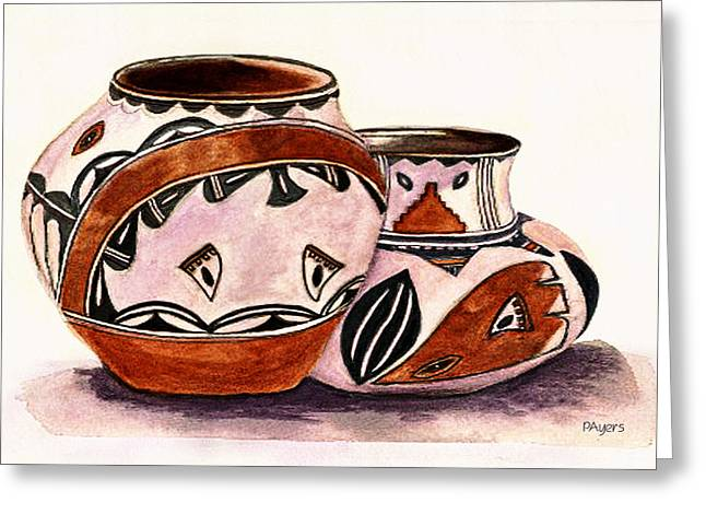 Pottery Pitcher Paintings Greeting Cards - Native American Pottery Greeting Card by Paula Ayers