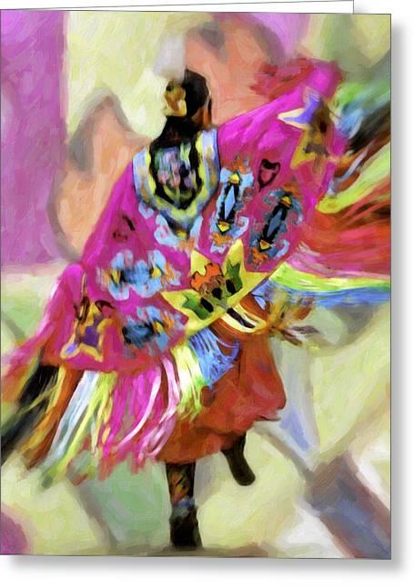 Powwow Greeting Cards - Native American Pow Wow Dancer Shawl Greeting Card by F Leblanc