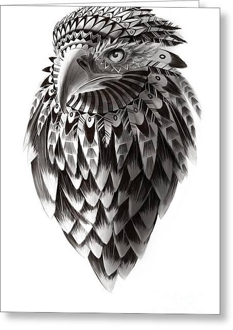 Eagle Drawing Greeting Cards - Native American Shaman Eagle Greeting Card by Sassan Filsoof