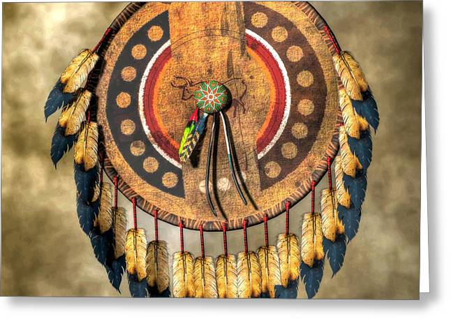 Spirit Guides Greeting Cards - Native American Shield Greeting Card by Daniel Eskridge