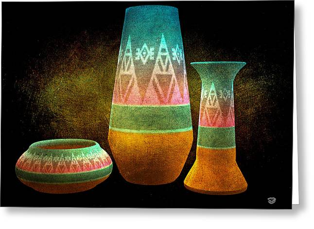 Stoneware Digital Art Greeting Cards - Native American Vases Greeting Card by Todd and candice Dailey