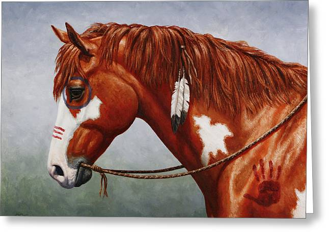 Wild Horse Greeting Cards - Native American War Horse Greeting Card by Crista Forest