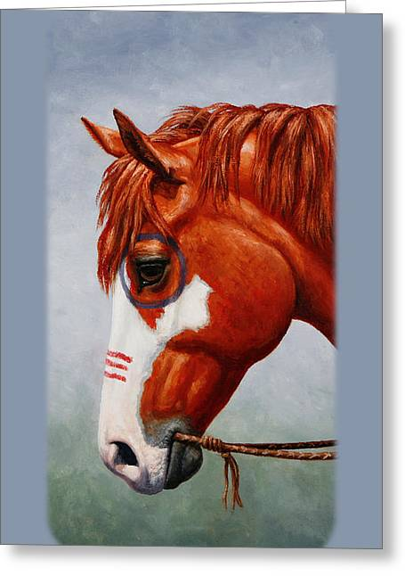 Pinto Horse Greeting Cards - Native American War Horse Phone Case Greeting Card by Crista Forest