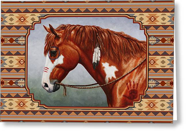 Chestnut Horse Greeting Cards - Native American War Horse Southwestern Pillow Greeting Card by Crista Forest