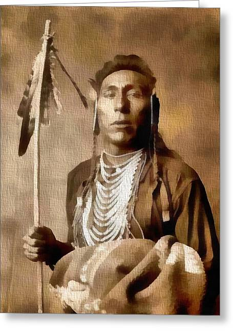 Medicine Mixed Media Greeting Cards - Native American Warrior Vintage Greeting Card by Dan Sproul