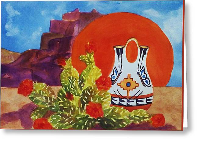 White Paintings Greeting Cards - Native American Wedding Vase and Cactus Greeting Card by Ellen Levinson