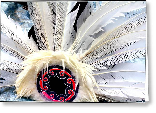 North American Indian Ethnicity Greeting Cards - Native American White Feathers Headdress Greeting Card by  Photographic Art and Design by Dora Sofia Caputo