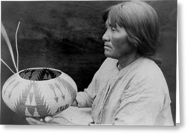 Basket Pot Greeting Cards - Native American woman circa 1924 Greeting Card by Aged Pixel