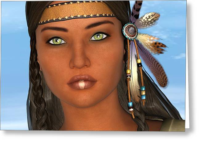 Native American Woman Greeting Card by Design Windmill
