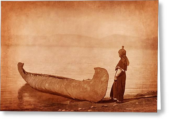 American Women Prints Greeting Cards - Native American Woman with Canoe Greeting Card by Cat Whipple
