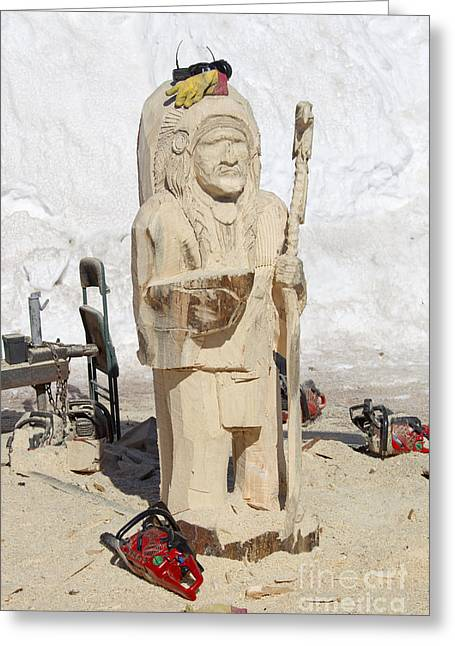 Native American Wood Carving Greeting Card by Keith Bell