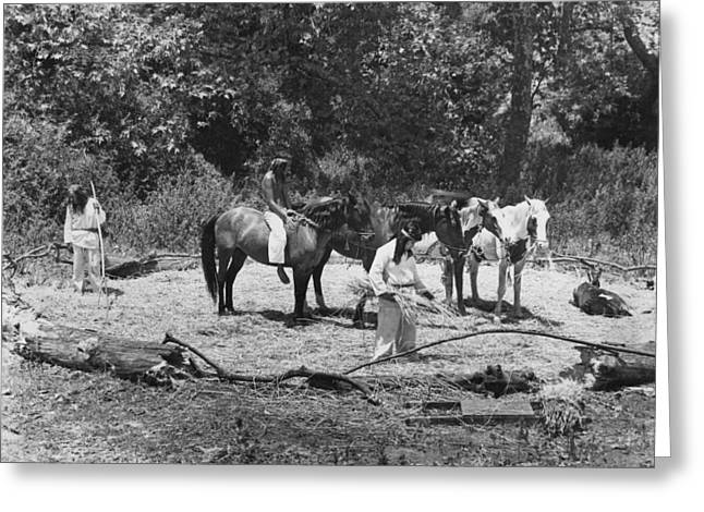 Native American Theme Greeting Cards - Native Americans Threshing Greeting Card by Underwood Archives