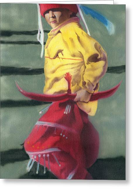 Wow Paintings Greeting Cards - Native Boy Greeting Card by Luis  Navarro
