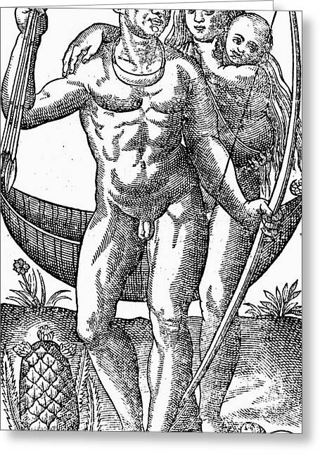 Native Brazilians, C1580 Greeting Card by Granger