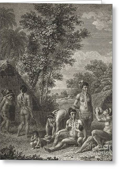 Grenadine Greeting Cards - Native Caribbean Family, 18th Century Greeting Card by British Library