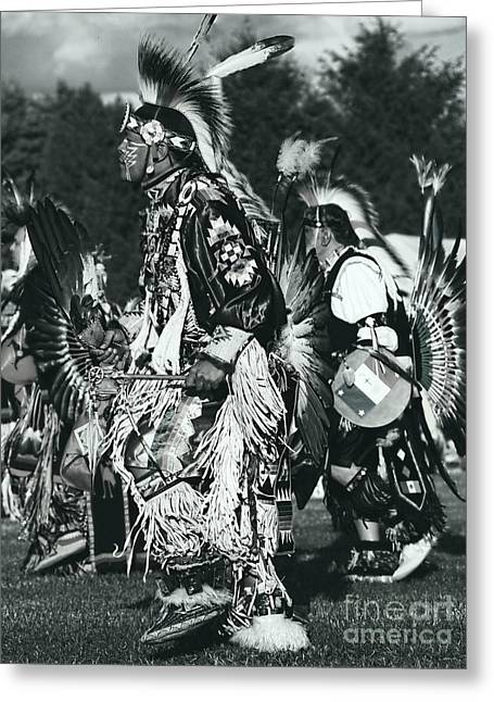 Fancy-dancer Greeting Cards - Native Dancer in silver screen Greeting Card by Scarlett Images Photography